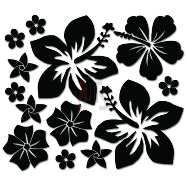 Hibiscus Flowers Hawaii Decal Sticker Style 2