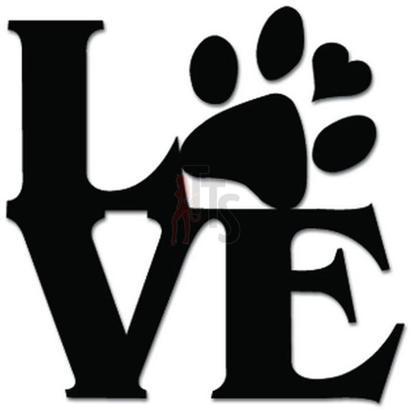 Love Pets Dog Paw Decal Sticker