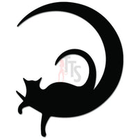 Cat Laying Moon Decal Sticker