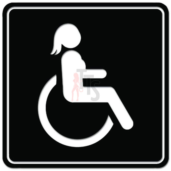 Handicap Wheelchair Women Symbol Decal Sticker