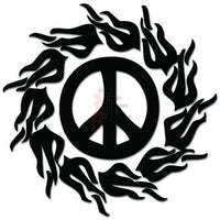 Peace Sign Flames Decal Sticker