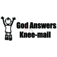 God Answers Knee Mail Christian Decal Sticker