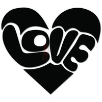 Love Heart Groovy Hippy Decal Sticker