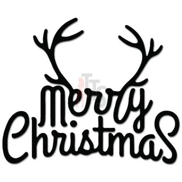 Mery Christmas Antlers Hunting Decal Sticker