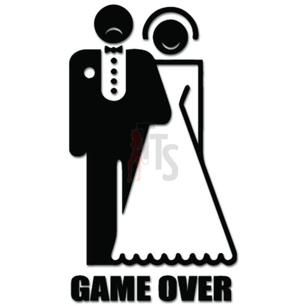 Game Over Wedding Funny Decal Sticker
