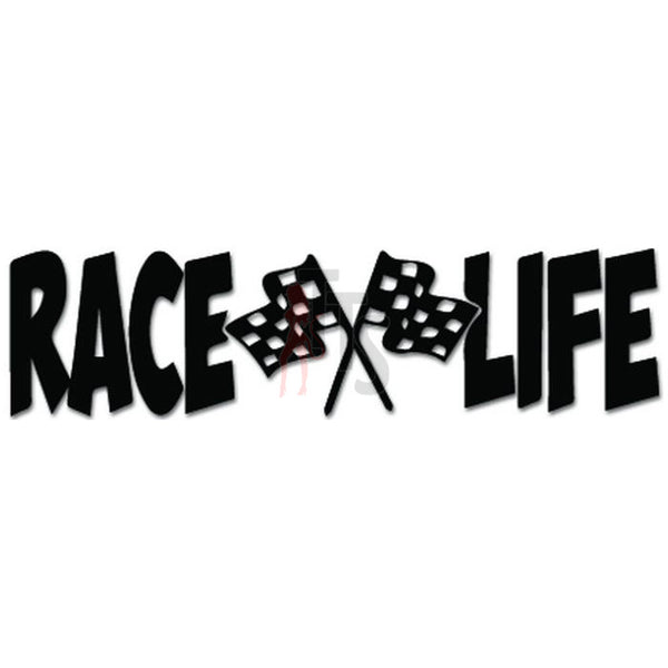 Race Life Racing Flags Decal Sticker