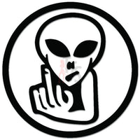 Alien Flipping the Bird Middle Finger Decal Sticker