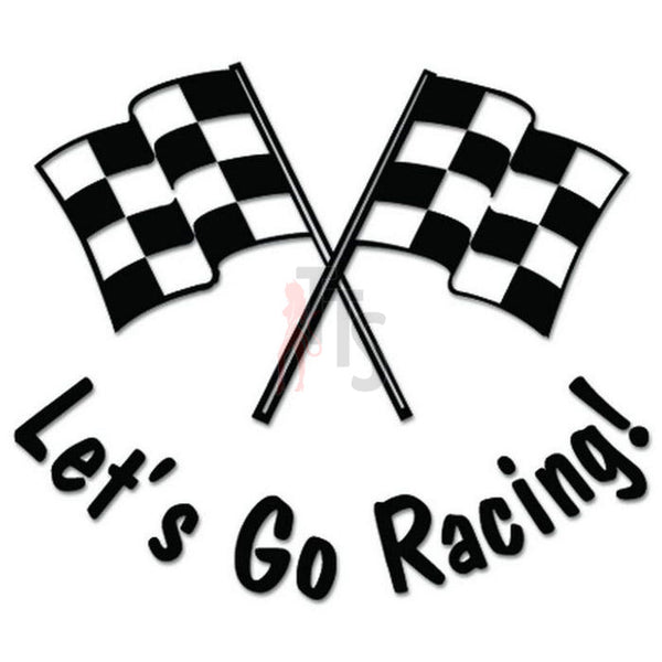 Let's Go Racing Checkered Flag Decal Sticker Style 1
