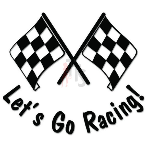 Let's Go Racing Checkered Flag Decal Sticker Style 4