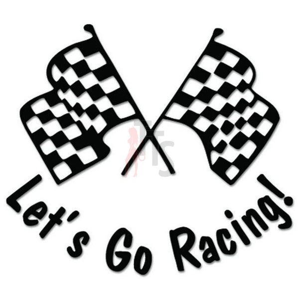 Let's Go Racing Checkered Flag Decal Sticker Style 2
