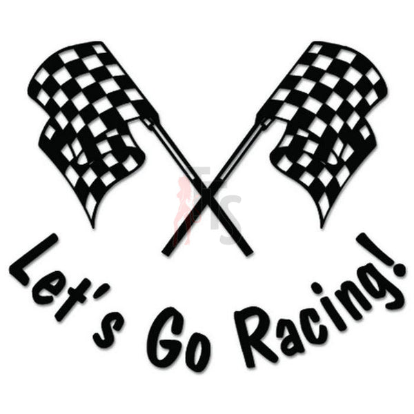 Let's Go Racing Checkered Flag Decal Sticker Style 3