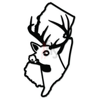 Deer Buck Hunting New Jersey State Decal Sticker