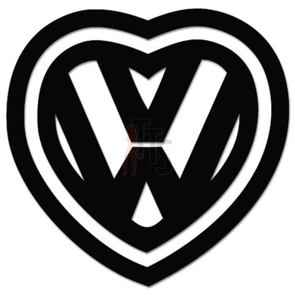 Euro Heart Love Volkswagen Decal Sticker