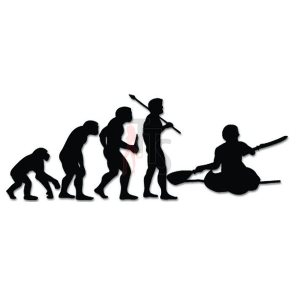 Men Kayaking Sports Evolution Decal Sticker