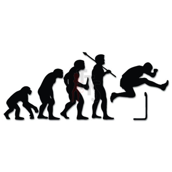 Men Hurdles Track Field Evolution Decal Sticker