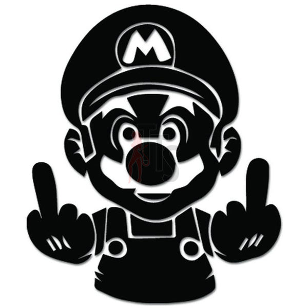 Mario Bros Middle Fingers Online Gaming Video Game Decal Sticker