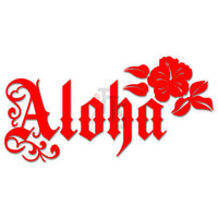 Aloha Hibiscus Flower Hawaii Decal Sticker