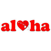 Aloha Love Heart Hawaii Decal Sticker