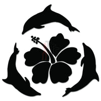 Hibiscus Flower Dolphins Hawaii Decal Sticker