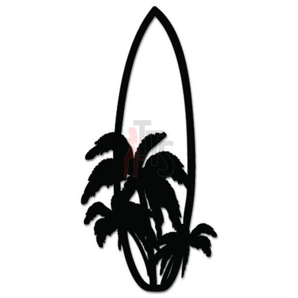 Palm Trees Surfboard Hawaii Decal Sticker Style 1