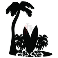 Palm Trees Surfboard Hawaii Decal Sticker Style 2
