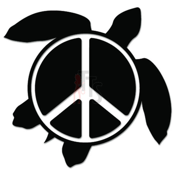 Sea Turtle Peace Sign Hawaii Decal Sticker