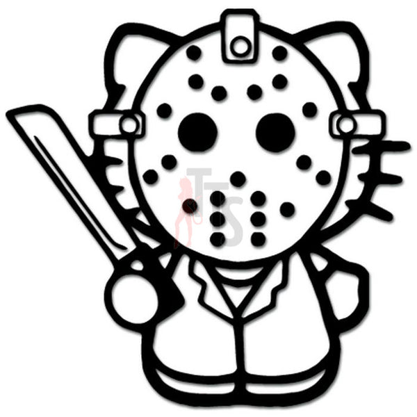 Hello Kitty Jason Friday 13th Inspired Decal Sticker