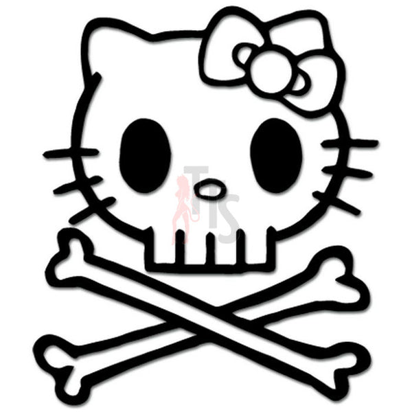 Hello Kitty Death Skull Punisher Crossbones Inspired Decal Sticker