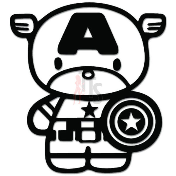 Hello Kitty Captain America Inspired Decal Sticker