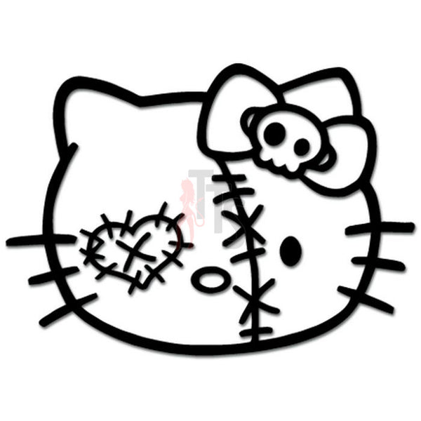 Hello Kitty Zombie Skull Bow Tie Inspired Decal Sticker