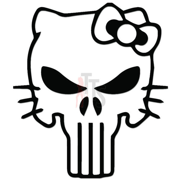 Hello Kitty Punisher Bow Tie Inspired Decal Sticker