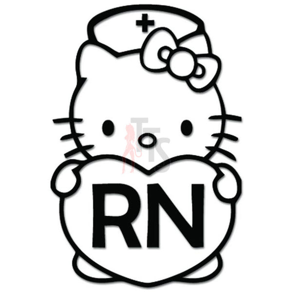Hello Kitty Nurse RN Inspired Decal Sticker