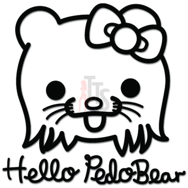 Hello Kitty JDM Pedobear Inspired Decal Sticker