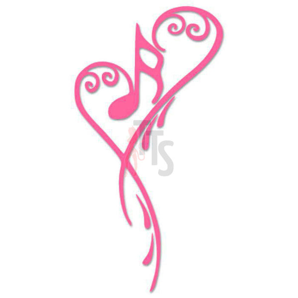 Music Note Heart Love Decal Sticker Style 1