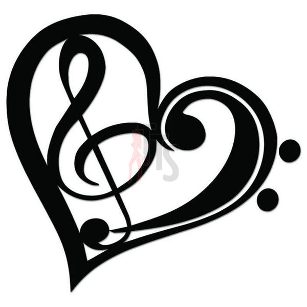 Music Note Heart Love Decal Sticker Style 2