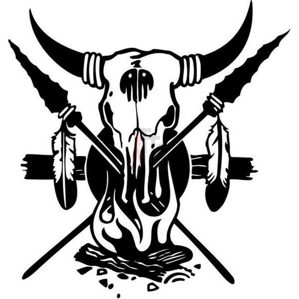 Longhorn Cow Bull Skull Indian Ritual Decal Sticker Style 3