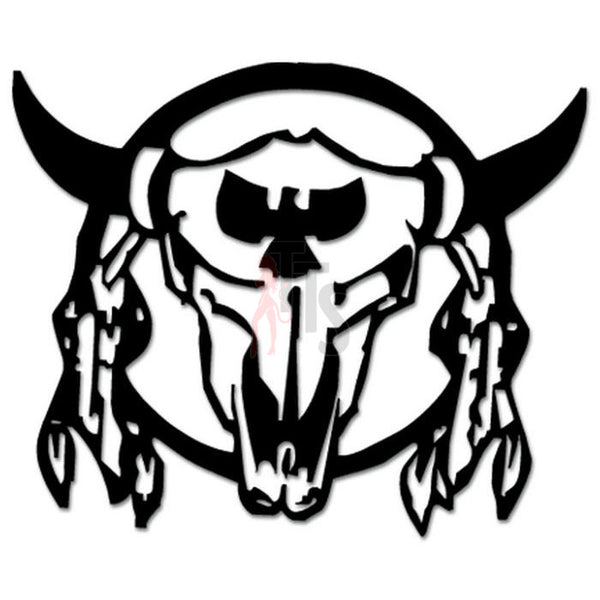 Longhorn Cow Bull Skull Indian Ritual Decal Sticker Style 1