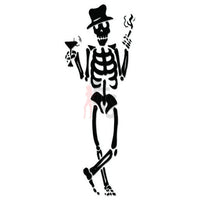 Death Skull Smoking Drinking Decal Sticker