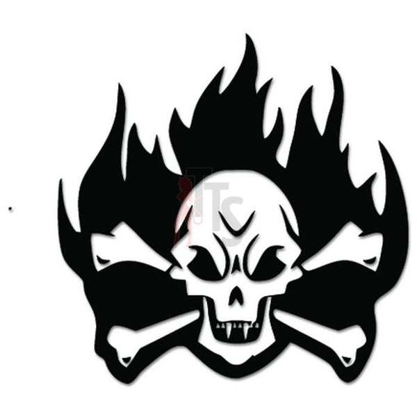 Death Skull Crossbones Flaming Fire Decal Sticker