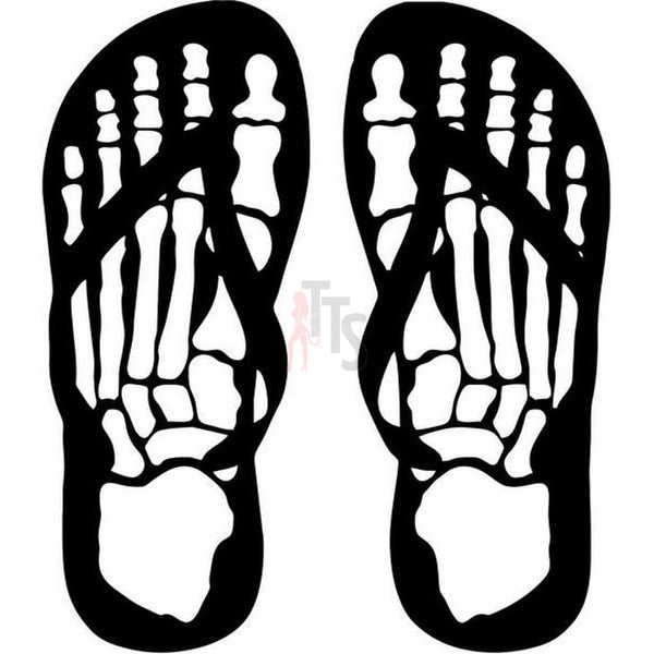 Death Flip Flops Feet Bones Decal Sticker
