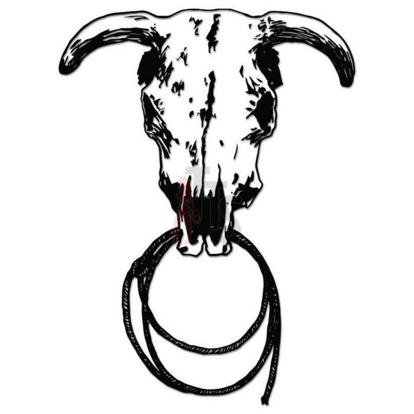Cow Bull Skull Longhorn Decal Sticker Style 2
