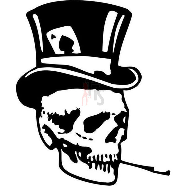 Death Skull Magician Top Hat Decal Sticker