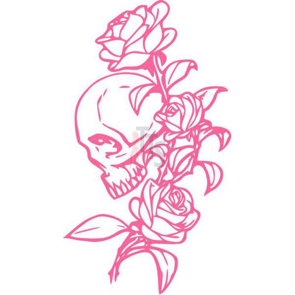 Death Skull Rose Flower Decal Sticker