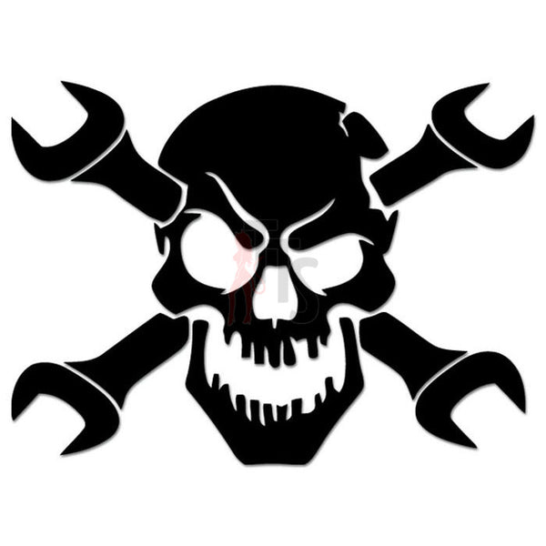 Death Skull Crossed Wrench Mechanic Decal Sticker