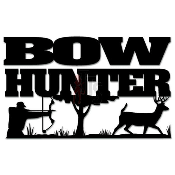 Hunting Deer Buck Bow Hunter Decal Sticker Style 1