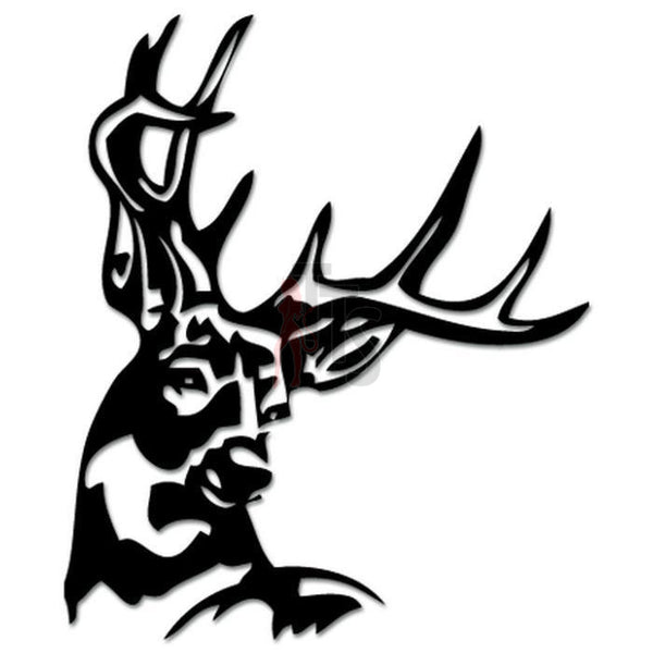 Deer Buck Antlers Hunting Decal Sticker Style 3
