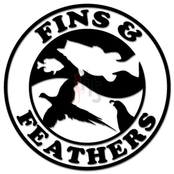 Fins Feathers Pheasant Fish Hunting Fishing Decal Sticker