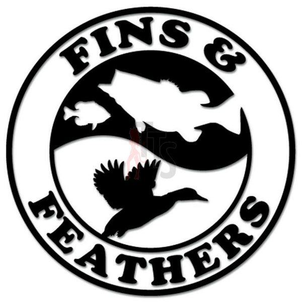 Fins Feathers Duck Fish Hunting Fishing Decal Sticker
