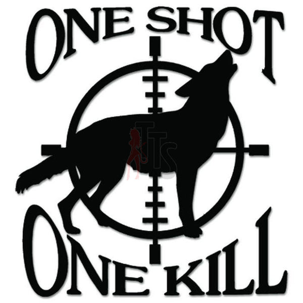 One Shot Wolf Sniper Crosshairs Hunting Decal Sticker