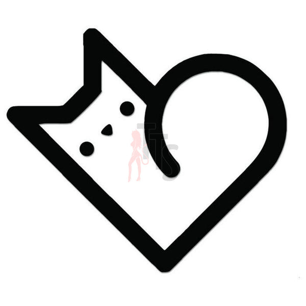 Cute Cat Pet Love Heart Decal Sticker